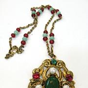 SALE Pretty Moghul Colored Pendant Necklace