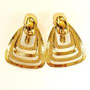 SALE MONET Lever Back Pyramid Earrings