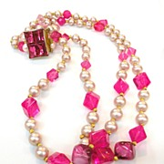 SALE HATTIE CARNEGIE Shades of Pink Beaded Double Strand Necklace