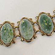SALE Mottled Spring Green Porcelain Cabochon Link Bracelet