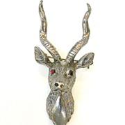 SALE HATTIE CARNEGIE Red Eyed Antlered Reindeer Brooch