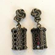 SALE NAPIER Patent Pending Pewter Color Cage Earrings with Raspberry Beads