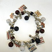 SALE Silver and Bead Stretchy Red White and Blue Flag Charm Bracelet