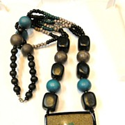 SALE Teal Black and Taupe Beaded and Resin Pendant Necklace