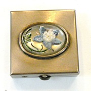 SALE 1980s Pill Box with Blue Floral Scene