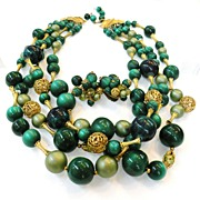 SALE Four Strand Shade of Green Great Necklace and Earrings Set