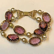 SALE GOLDETTE Double Strand Amethyst Colored Glass Bracelet