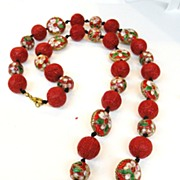 SALE Red Cloisonne Ball and Bead Necklace with Cinnabar Colored Carved Beads
