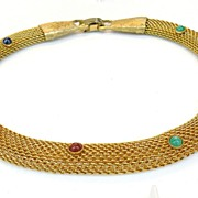 SALE Mesh Rope Collar de Chein with Multi Color Cabochons
