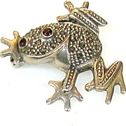 SALE 925 Marcasite Sterling with Red Eyes Fertility Frog Brooch