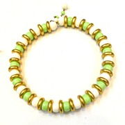 SALE Mad Men Era Lime and White Memory Wire Choker Necklace