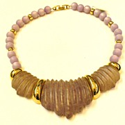 SALE NAPIER Dusty Purple Heavy Carved Lucite and Moonglo Necklace