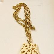 SALE KRAMER Creamy Carved Lucite Fringed Pendant Necklace
