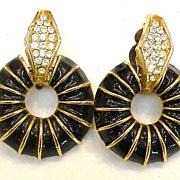 Black Enamel Rhinestone Hoop Drop Earrings