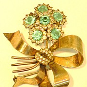 STERLING Floral Bow Brooch with Aqua and Clear Rhinestones