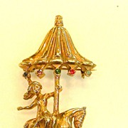 STERLING Rose Washed Lady on a Horse Carousel Brooch