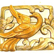 SALE Mixed Metal Framed Bird on a Wave and Leaf Brooch