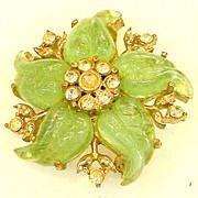 SALE CORO Green Molded Lucite Swirling Flower Brooch