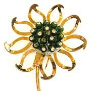 NETTIE ROSENSTEIN Sterling Green Button Rhinestone Center Rose Tone Giant Flower Brooch
