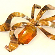 SALE STERLING with Rose Wash and Amber Faceted Stone Ribbon Brooch