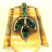 STERLING Art Deco Brass Tone and Green Rhinestone Clip Brooch