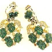 SALE KRAMER Green Lava Rock and Imitation Pearl Drop Earrings