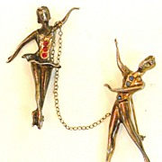 STERLING Male and Female Ballet Dancer Chatelaine Brooch