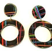 Hot Colored Plaid on Black Drop Hoop Earrings