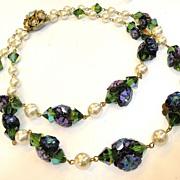 Margarita Rhinestone and Imitation Pearl Double Strand Necklace