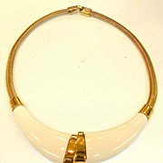 MONET Asymmetric Double Signed White and Gold Tone Metal Collar with Gaspipe Band Necklace