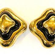 LANVIN Paris Black Enamel and Gold Tone Metal Layered Earrings