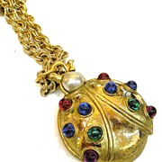 Giant Cabochoned Lucky Ladybug Brooch Pendant Necklace