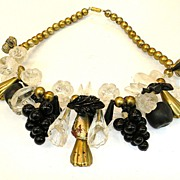 1970s Lucite Beaded Fruit and Leaf Chunky Funky Necklace