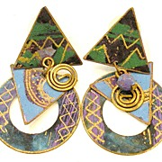 SALE 1970s Painted Copper and Bronze Mobile Earrings