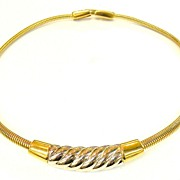 SALE GIVENCHY 1976 Delicate and Feminine Two Tone Snake Coil Collar Necklace