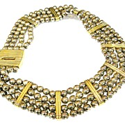 Four Strand Beaded and Station Classically Designed Necklace