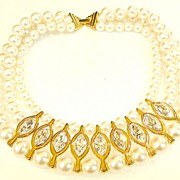 SALE NAPIER Patent Pending Wide Imitation Pearl and Rhinestone Chine de Collar Necklace