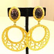 SALE Etruscan Revival Matte Gold Tone Double Drop Earrings with Mottled Purple Stone