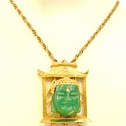 SALE Framed Green Resin Buddha Face with Rhinestone and Tassel Pendant Necklace