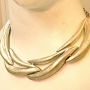 SALE Matte Silver Tone Articulated Wavy Sculptural Necklace