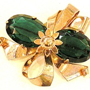 SALE 1940s Rose Wash Sterling Bouquet Brooch with Large Faceted Deep Green Rhinestones