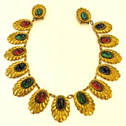 SALE Early 1920s-30s Mogul Colored Cabochon Cushioned Chatelaine