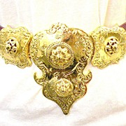 SALE ALEXIS KIRK Purple Skin Gold Tone Metal Etruscan Revival Massive Buckle Belt