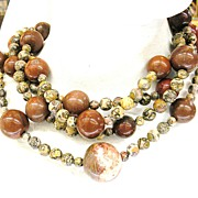 SALE JAY FEINBERG (aka Strongwater) Four Strand Agate and Carnelian Colored Necklace