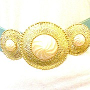 SALE ALEXIS KIRK Etruscan Revival Three Part Belt Buckle with Imitation Pearl