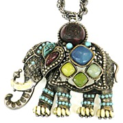 SALE Multi Colored Cabochon Elephant Pendant Necklace or Brooch