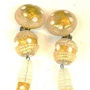 SALE LATTICINO Glass Italian Drop Earrings 1970s