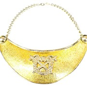 SALE ACCESSOCRAFT NYC Coat of Arms Two Tone Metal Bib Shield Necklace