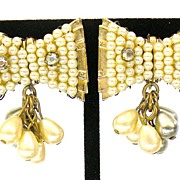 SALE Grey and Cream Imitation Pearl Beaded Bow Earrings with Rhinestone Accents