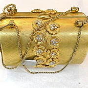 SALE RODO 1970s Matte Gold Tone Rigid Box Type Miniature Evening Clutch Bag with Rhinestones
